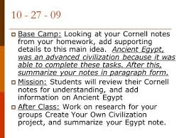Chapter    Section    Hieroglyphics     writing made up of pictures                      Base Camp  Looking at your Cornell notes from your