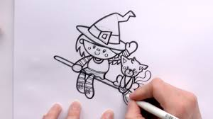 how to draw a cartoon witch and a cat on a broomstick for