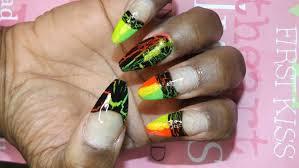 neon summer crackle nail art design 2015 tutorial youtube