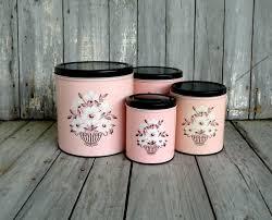 Vintage Kitchen Canister Set Vintage Pink Canister Set Black White Floral Decoware Retro Pink