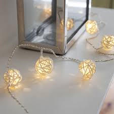 16 warm white led rattan ball wicker fairy lights lights4fun co uk