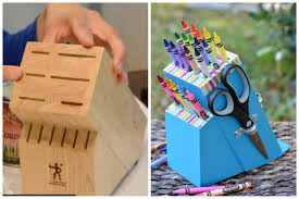 upcycle an old knife block into a diy crayon holder easy diy