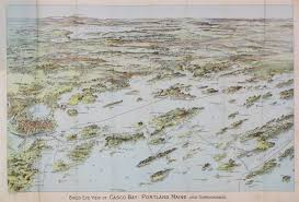 Map Of Portland Maine by Bird U0027s Eye View Of Casco Bay Maine Rare U0026 Antique Maps