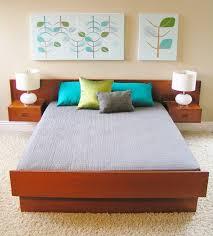 Bedroom Modern Furniture Vintage Mid Century Danish Modern Queen Teak Platform Bed With