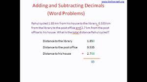 Decimal Addition Worksheets Adding Subtracting Decimals Word Problems Youtube
