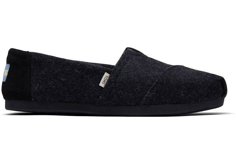 Toms Classic Felt Faux Shearling Black Fabric Slip-On Shoes 9M