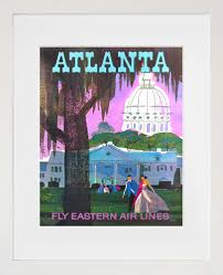 travel art atlanta print poster georgia vintage home decor