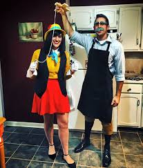 easy homemade couples halloween costume ideas diy couples costume pinocchio u0026 geppetto disney couple costume