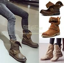 real biker boots leather plus size black brown punk women rivet combat boots