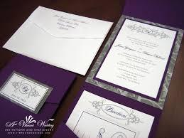 folded invitation purple and silver wedding invitation pocket fold style wedding