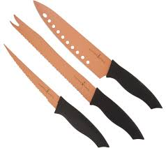 Chicago Cutlery Kitchen Knives by Copper Chef 3 Piece Nonstick Knife Set Page 1 U2014 Qvc Com