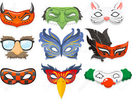 halloween mask costumes happy halloween party set of cute cartoon children in colorful