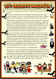 Halloween Printable Activities Lets Celebrate Halloween 2 Page Reading Esl Worksheets Of The