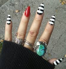 beetlejuice gothic goth stiletto nails black white red press