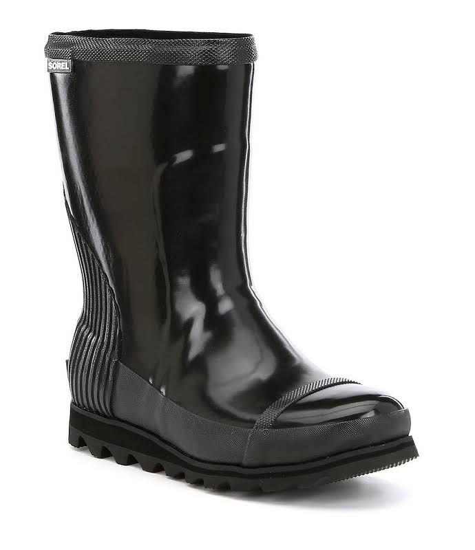 Sorel Joan Rain Short Gloss Mid-Calf Rubber Boot 9.5M Black / Sea Salt