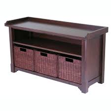 rockbrook storage bench with 3 baskets walmart com