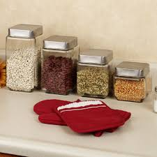 Kitchen Canisters Red Kitchen Helix 4 Piece Kitchen Canister Sets With Simple Kitchen