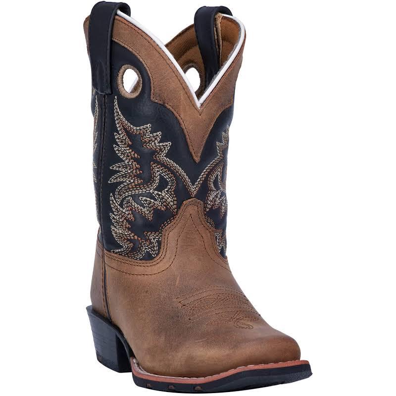 Dan Post Rasl Childrens 8 Aged Bark/Black Western Cowboy Boot 12.5 D Aged Bark