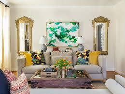 Feminine Living Room by Abstract Art Gray Couch Global Gilt Framed Feminine White Walls