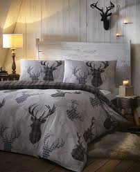 King Size Duvet Covers At B M Tartan Check Stag Rein Deer Duvet Quilt Cover Double Bedding Bed