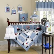 Monkey Crib Set Nautical Themed Blue Baby Crib Bedding 9pc Boy Nursery Set
