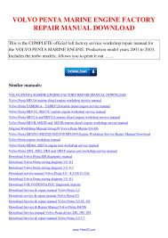 volvo penta marine engine factory repair manual by nana hong issuu