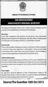 Secretary Job Description For Resume by Ambassador U0027s Personal Secretary Tayoa Employment Portal