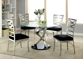 Round Dining Table Sets For 6 Roxo Round Glass Dining Table By Furniture Of America Cm3729t