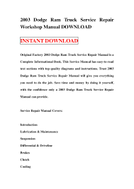 2003 dodge ram truck service repair workshop manual download