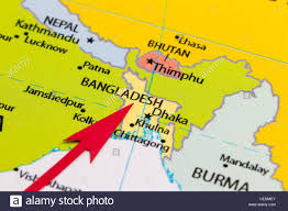 Map Of Asia by Red Arrow Pointing Bangladesh On The Map Of Asia Continent Stock