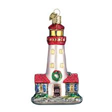 Decorative Lighthouses For In Home Use Amazon Com Old World Christmas Lighthouse Glass Blown Ornament
