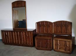 Modern Bedroom Set Dark Wood Dark Brown Varnished Mahogany Wood Mid Century Credenza With Iron