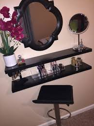Space Saving Closet Ideas With A Dressing Table My Very Own Diy Vanity I Made Using Floating Shelves Makeup