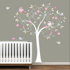 cartoon theme wall decor stickers for baby room nursery tree baby room nice wall sticker for baby nursery released in white tree and colorful leaves also some small birds flying around the tree cute selections of