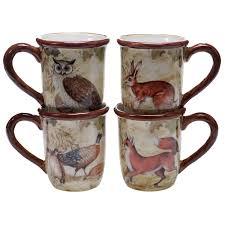 rustic nature mugs set of 4