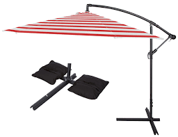 Offset Patio Umbrella by 10 U0027 Deluxe Polyester Offset Patio Umbrella With Set Of 2 Saddlebag