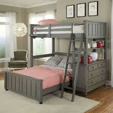 Twin Over Full Bunk Bed Loft With Chest And Ladder In Stone Wood - Ladder for bunk bed