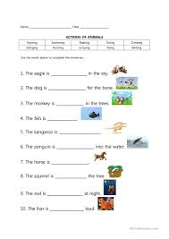 going to the zoo animal actions worksheet free esl printable