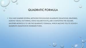 chapter quadratic formula ppt download