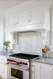 White Kitchen Moroccan Tile Backsplash Beneath Openshelves Carrara - Carrara tile backsplash