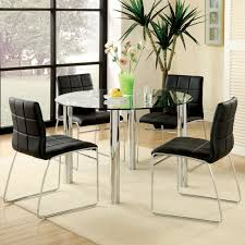furniture of america lavelle 5 piece glass top dining set dark