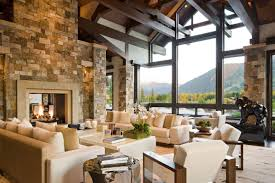 Exposed Beam Ceiling Living Room by Beautiful Full Exposed Stone Living Room Wall Ideas Orchidlagoon Com