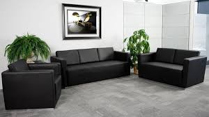 Office Furniture For Reception Area by Btod Trinity Black Leather Modern Office Furniture Set