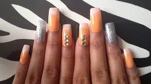 sunset orange white sponge tip glitter nail art 035 press on nails