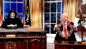 trump desk snl lampoons steve bannon as grim reaper donald trump as