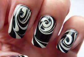 water marble for short nails black u0026 white swirl nail art design