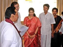Kanimozhi with Rajapakshe