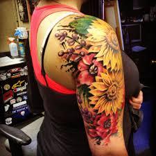 sunflower shoulder tattoo on tattoochief com tattoo pinterest