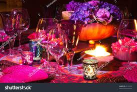 colorful elegant dinner table setting stock photo 95155357