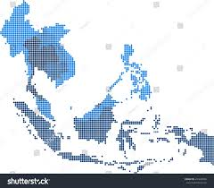 Southeast Map Circle Dot South East Asia Nearby Stock Vector 410249986